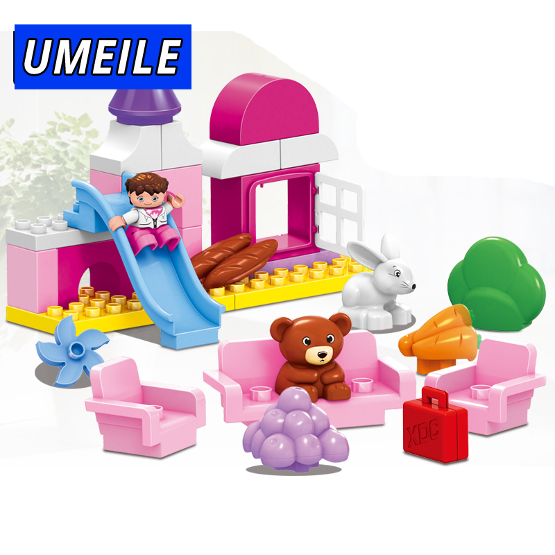 UMEILE Brand 59PCS Original Pink Girl Castle Park Slide Sofa Princess Block Kids Bbay Toys Compatible with Duplo Christmas Gift
