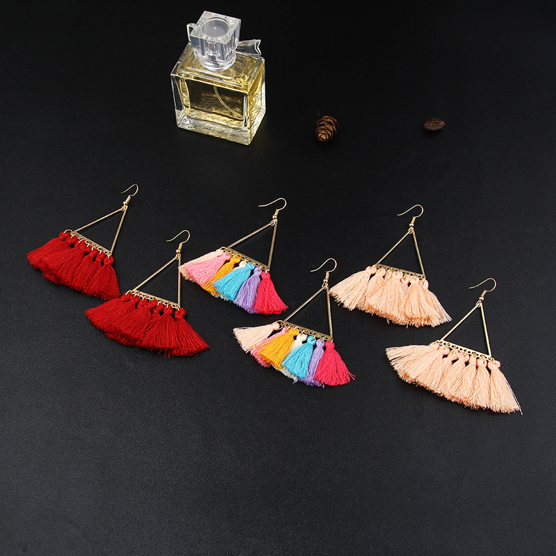 Modern Women Earrings 2018 Bohemian Triangle Alloy Fan Shape Pendant Fringe Earrings For Women Accessories Tassel Earrings in Drop Earrings from Jewelry Accessories