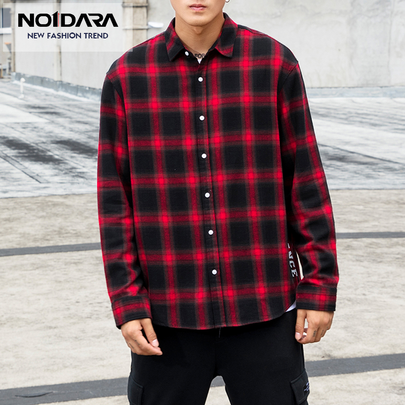 No 1 Dara Men Flannel Plaid font b Shirt b font 100 Cotton 2018 Spring Autumn