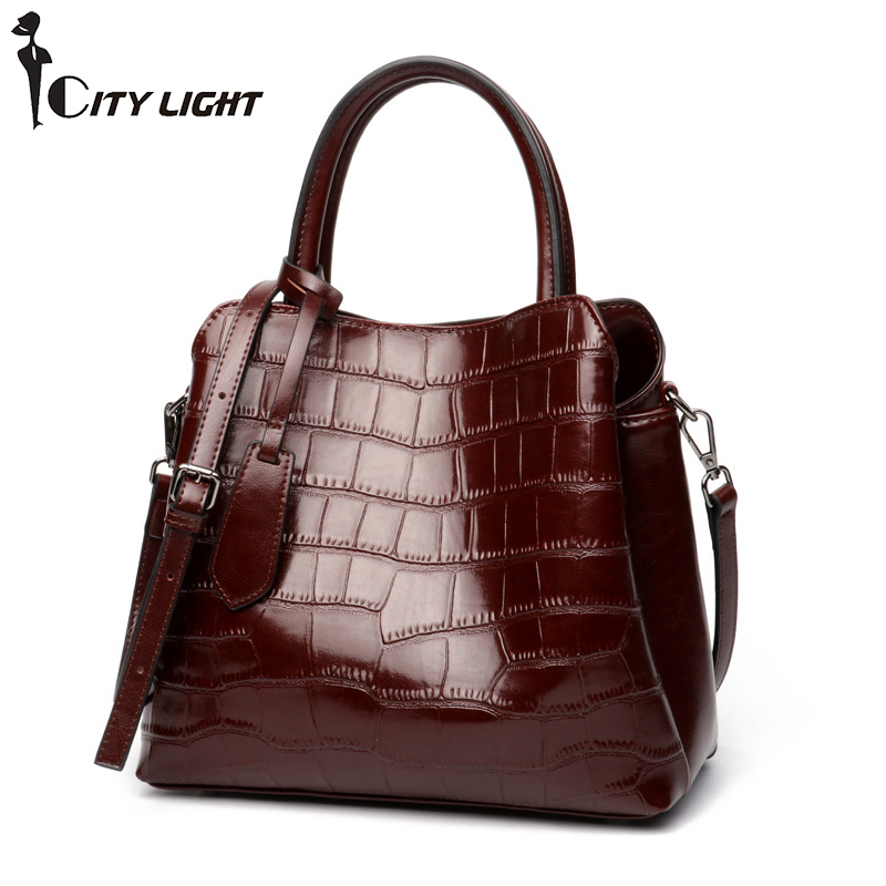 Natural Cowhide Women Handbag Fashion Alligator Bag High Quality Genuine Leather Ladies Tote Bag Messenger Bags