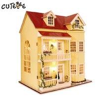 Cutebee Миниатюрный Кукольный Дом DIY кукольный домик с мебелью деревянный дом, игрушки для детей подарок на день рождения A010
