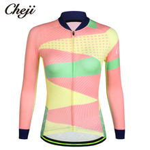 CHEJI Womens Long Sleeves Bike Shirt Microfiber Spring Autumn Cycling Wear Tops Custom Bicycle