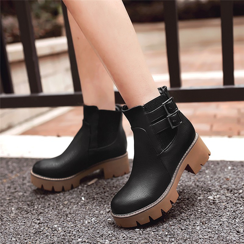 plus size 34-43 Autumn and winter women shoes vintage Europe star fashion Buckle high heels Ankle boots Platform Snow boots стоимость