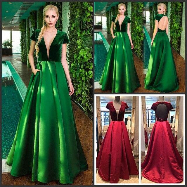new style d72ac 18a25 US $125.95 |Huifany Nuziale Elegante Velluto Top Gonna di Raso Lunghi  Vestiti Da Sera del V neckline Backless Maniche Corte Red Arabo Abiti Del  ...