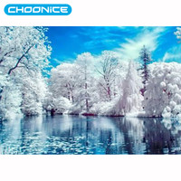Diamond embroidery landscape Lake Snow 3D DIY Diamond Painting Winter For Home Decor Hobby Mosaic Pattern Picture Of Rhinestones