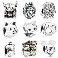 Btuamb Punk Style Lion Dog Cat Bear Hello Kitty Animal Alloy Beads Fit Pandora Bracelets & Bangles for Women DIY Jewelry Colares(China)