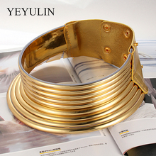 Vintage Statement Choker Necklace Women Gold Color Leather Collar Maxi Necklace African Jewelry Adjustable Chokers Big недорого