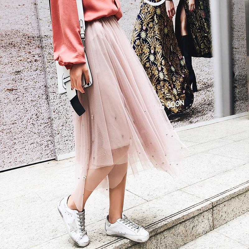 DOSOMA Vinatge tulle pleated skirts womens pearl lace mesh irregular skirt 2018 Casual elastic high waist mid-calf woman Saias