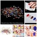 Muchos Colores Mezclados Tamaño Micro Strass Rhinestones Del Pointback Redonda Pegamento en las Piedras de Cristal Y de Cristal Mini DIY 3D Nail Art decoración