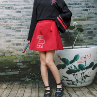 Princess sweet lolita skirt Vintage Chinese Red pleated half length A shaped short skirt for female high waist skirt BYJ148