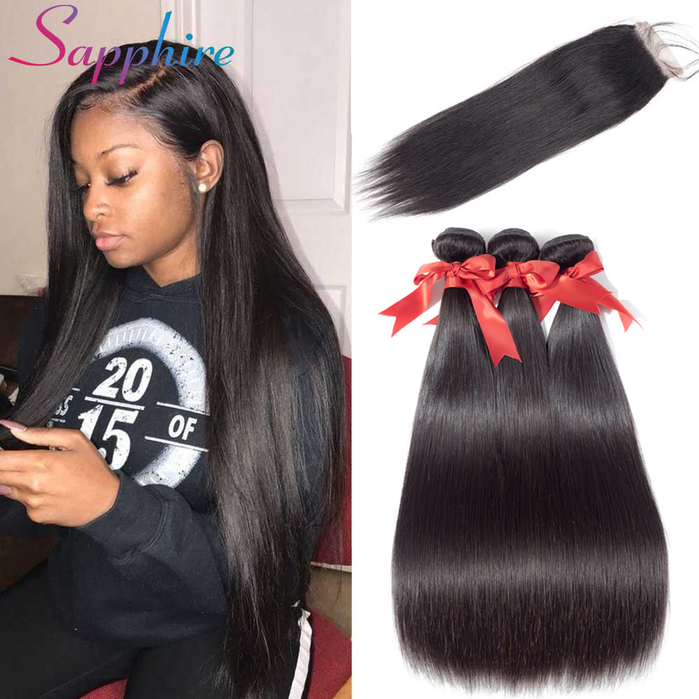 SAPPHIRE Brazilian Straight Hair Human Hair Bundles with Closure 3 Bundles With Closure Natural Color Non Remy Hair Extension