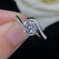 Angel's Kiss AAAAA High Quality NSCD Wedding Rings for Women Rings S925 Sterling Sliver White Gold Color Female Jewelry