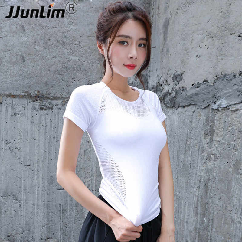 Women Yoga T Shirt Sexy Hollow Out Training Top Dry Fit Fitness Top Shirts Workout Gym Clothes Female Sport Running Tight Shirt