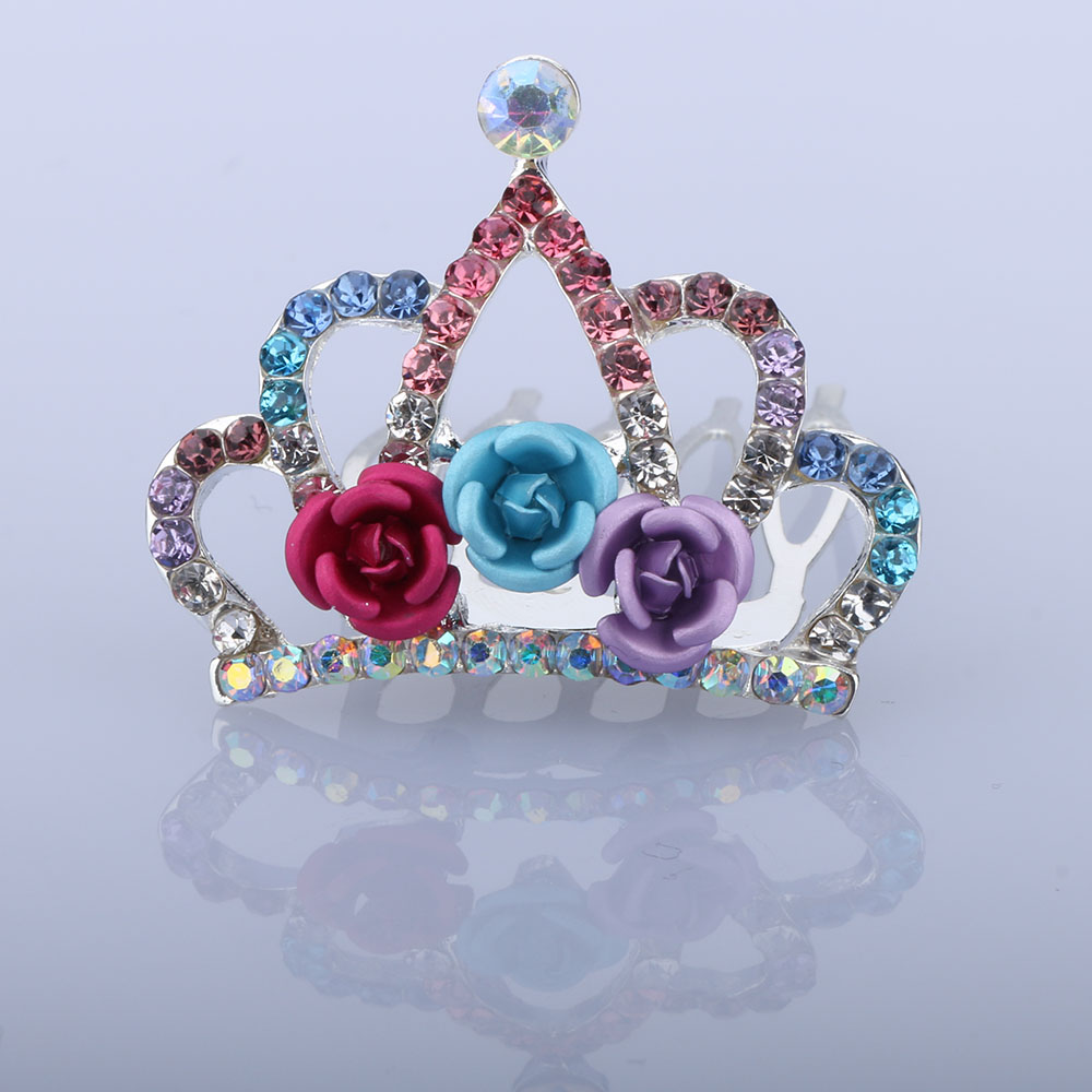 1 Pc Schöne Mini Tiara Rose Blume Kristall Strass Prinzessin Krone Haar Kamm Kinder Kinder Mädchen Kleine Haar Schmuck ZuverläSsige Leistung