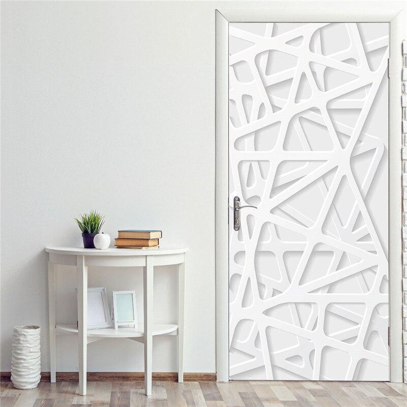 Self-Adhesive Door Stickers European 3D White Line Space Waterproof Living Room Bedroom Door Wallpaper Removable Wall Decals