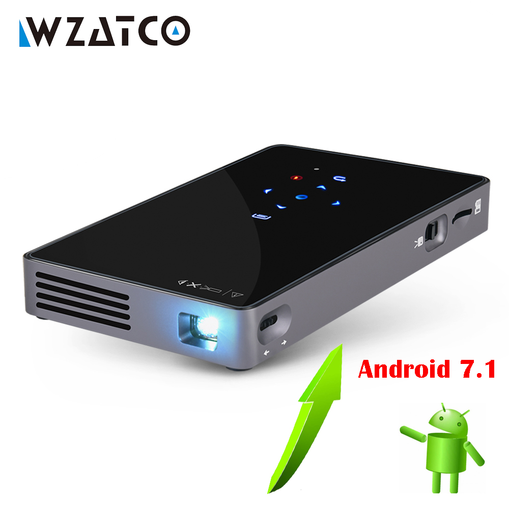 WZATCO CT50 Android 7.1 OS WIFI Bluetooth Pico Mini Micro lAsEr DLP Projector Portable Proyector with Battery for Home Theater aodin d16 pocket portable mini projector none android os linux micro led dlp projector with battery hdmi input usb 2 0 hd video