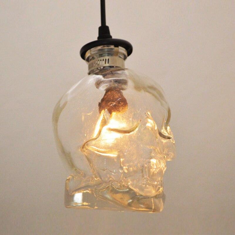 Lampe à suspension squelette en verre créatif E14 suspendue en verre clair pour Loft Bar café Restaurant luminaire crâne