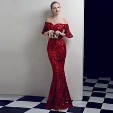 D082 Kim red sequined off the shoulder flare sleeves mermaid sexy long dress