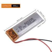 3,7 V 300mAh batería recargable 601235 baterías li-po ion de polímero de litio para DIY Mp3 GPS PSP auriculares bluetooth