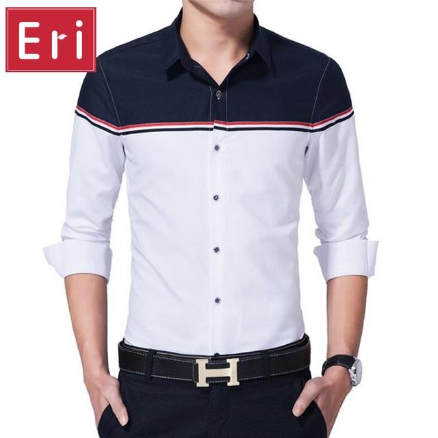 04d3d540d25e 2017 New Brand Men Shirt Fashion Patchwork Design Dress Shirts Slim Fit  Kemeja Long-Sleeve