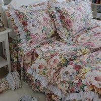 American Vintage деревенский цветочный постельных принадлежностей девушка, две Полный Королева Король милые хлопковые домашний текстиль Bedskirt нав