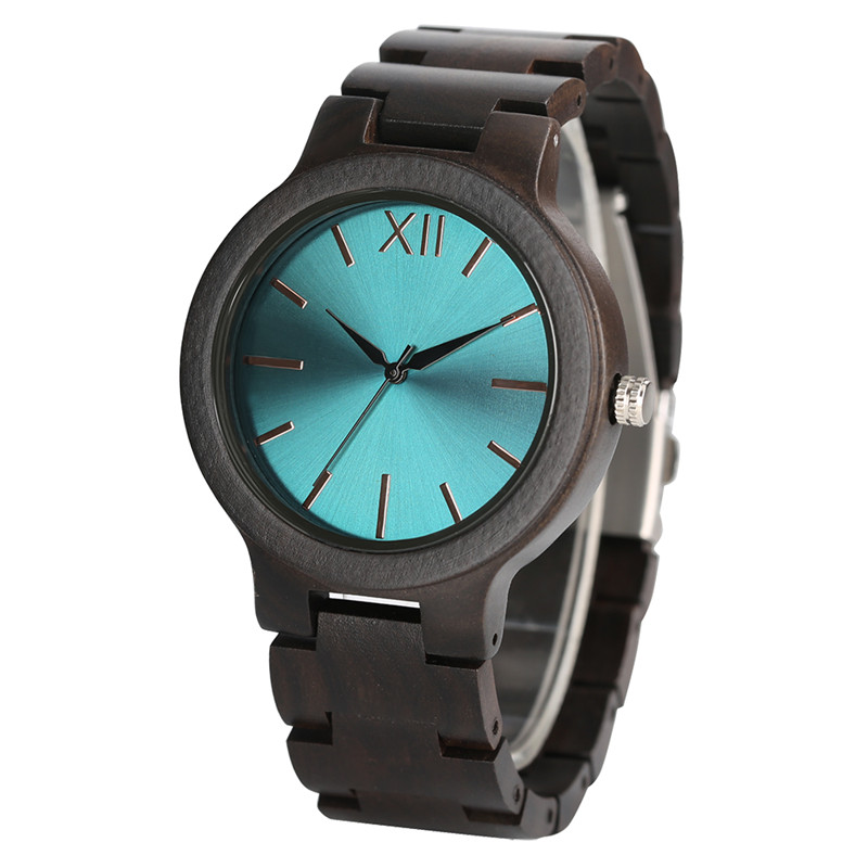 Full Wooden Nature Ebony Wood Watch Men Gift Male Wrist Watch Fashion Creative Bracelet Fold Clasp Trendy Green/Blue/Yellow Face luxury top brand full wooden watches handmade nature wood hollow wrist watch women men fold clasp creative casual bamboo gifts