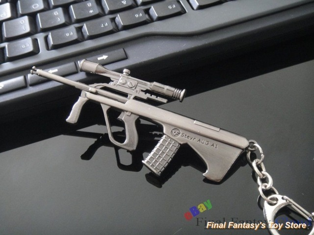US $9 99 |CF Cross Fire Steyr AUG A1 Assault rifle Submachine Metal Gun  Model Keychain toy free shipping to US-in Key Chains from Jewelry &