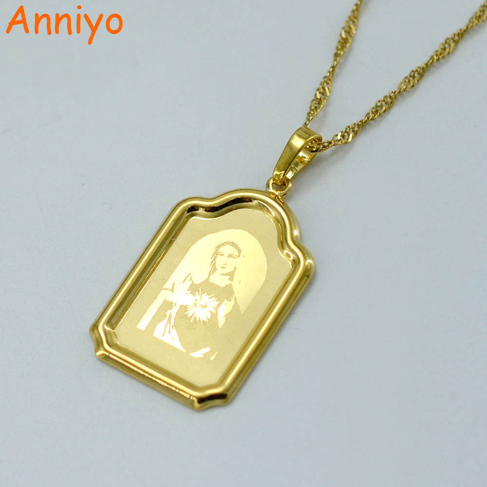 Anniyo Our Lady Basilica Head Portrait Gold Color Copper Virgin Mary Pendant Necklaces Women,Catholic Jewelry #006704
