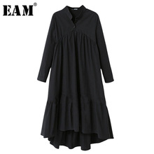 [EAM] 2018 New Autumn Winter Stand Collar Long Sleeve Black Solid Color Big Size Long Irregular Dress Women Fashion Tide JD93401