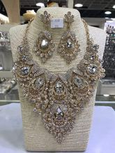 Amazing Colorful Peacock Wedding Crystal Rhinestone Jewelry Sets African Indian Bridal Necklace Earrings Sets QW1175