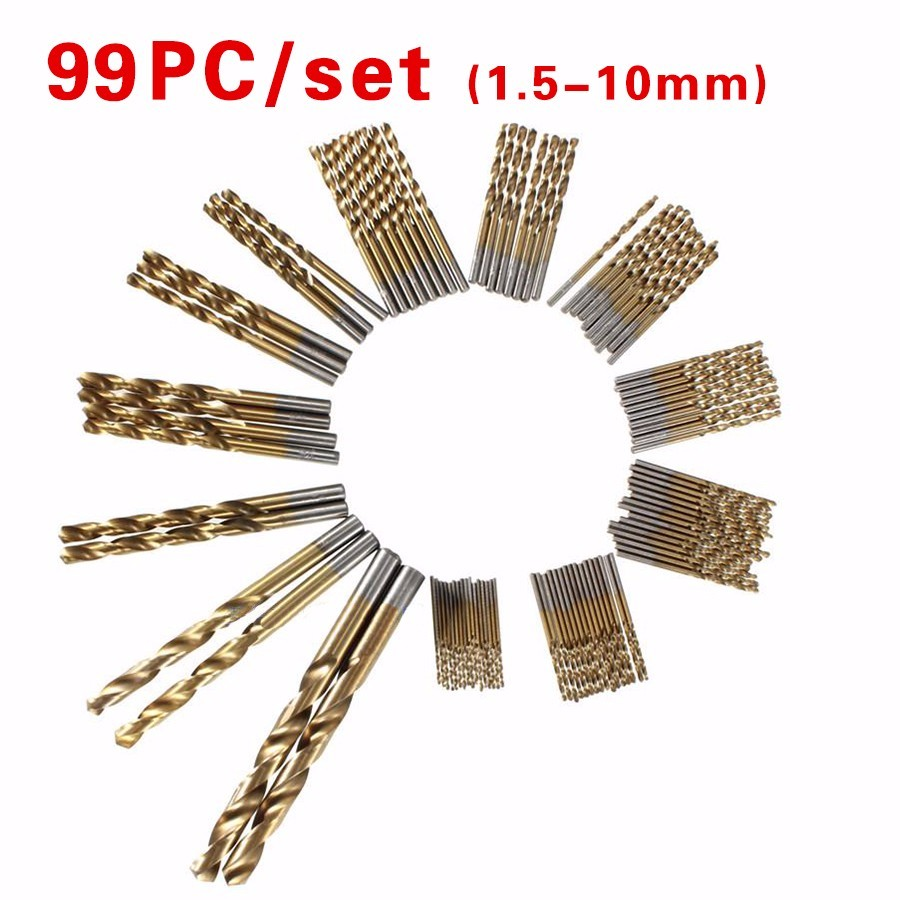 HILDA 99pcs Twist Drill Bit Set Saw Set HSS High Speed Steel Titanium Coated Drill Woodworkin Tool 1.5-10mm For Electric Drill 99pcs hss high steel titanium twist drill bit set saw set coated drill woodworkin tool 1 5 10mm for cordless screwdriver