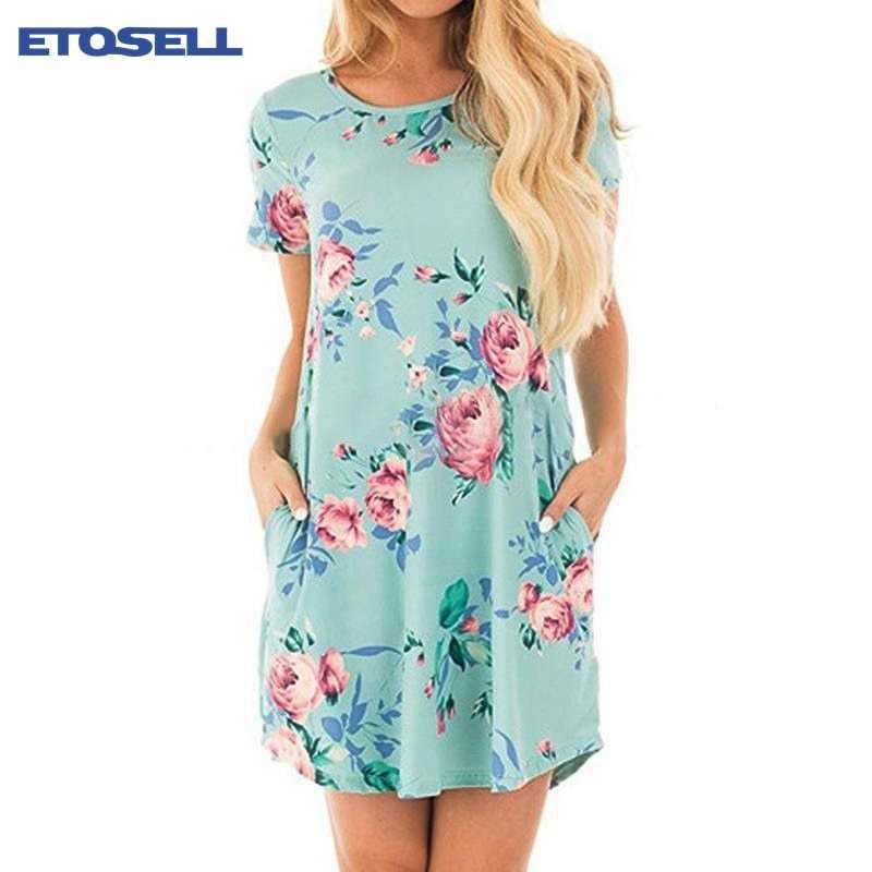 Verão vestidos femininos moda o pescoço feminino floral impressão mini vestido de verão vestidos de manga curta festa de casamento