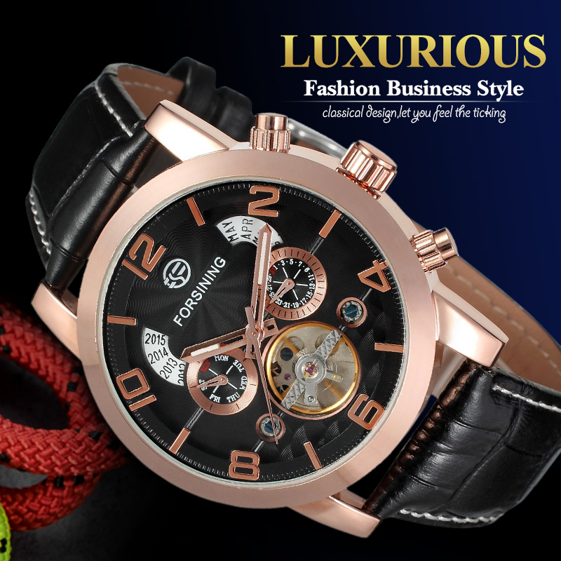 Mens Fashion Automatic Business Watch with Black Leather Strap Round Dial Mechanical Wristwatches with Gift Box oulm brand mens rectangle leather strap hand wind mechanical watch fashion casual wristwatches with gift box relogio releges