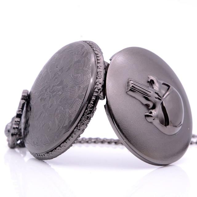 Drop Shipping Vintage Antique The Punisher Skull Quartz Pocket Watch Analog Pendant Necklace Men Women Black Regarder Gift