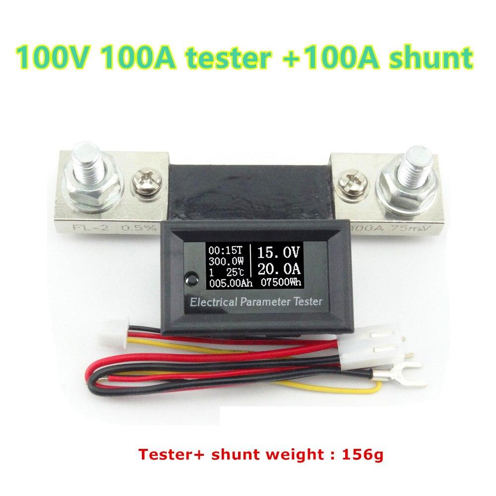 Digital Amperímetro Del Voltímetro de Voltio Amperios Vatios Power Energy Tester Medidor de Panel LCD Moduel DC100V 100A + shunt 100A 39%