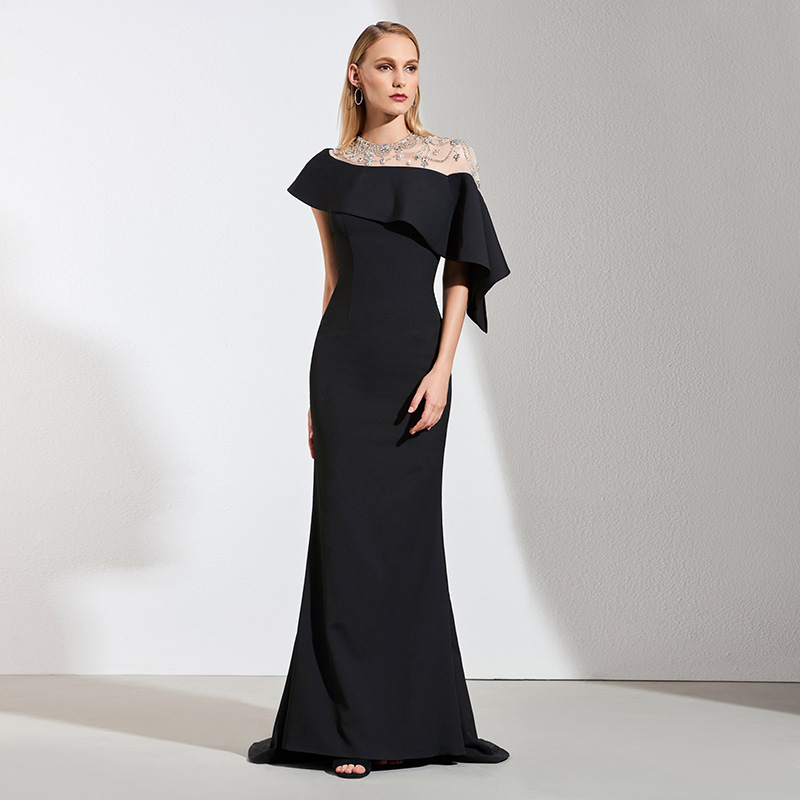Tanpell black   evening     dress   beading floor length gown women cocktail party plus customed mermaid formal long   evening     dresses