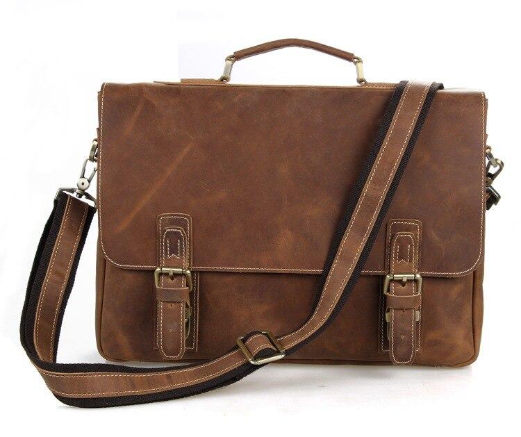 Men Handbags Cow Leather Vintage 2019 Male Business Travel Shoulder Crossbody 15
