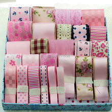 ФОТО free shipping mix ribbon material printed grosgrain ribbon and ribbon embroidery for handmade ribbons set 28 meters