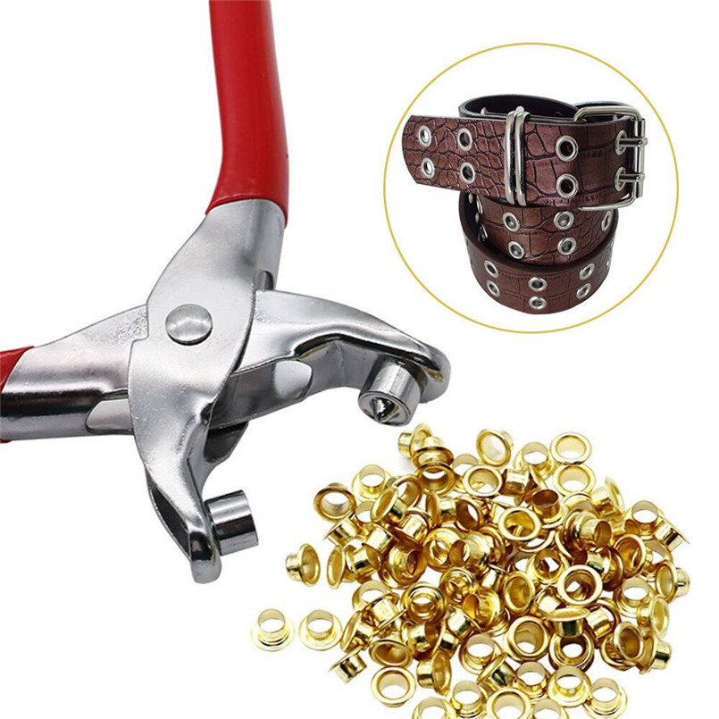 2018 Hot Sales! 30 Eyelets+1 Grommet Pliers Eyelets Set For DIY Shoes Clothes Bags Manual Tools Kit #83D