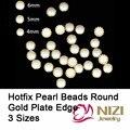 Moda Hoxtfix granos de la perla para la decoración de DIY 4 mm 5 mm 6 mm oro de la forma redonda placa Verge Flatback Cabochon cuentas de perlas de resina