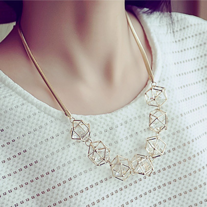 Hollow 3D Crystal Necklace