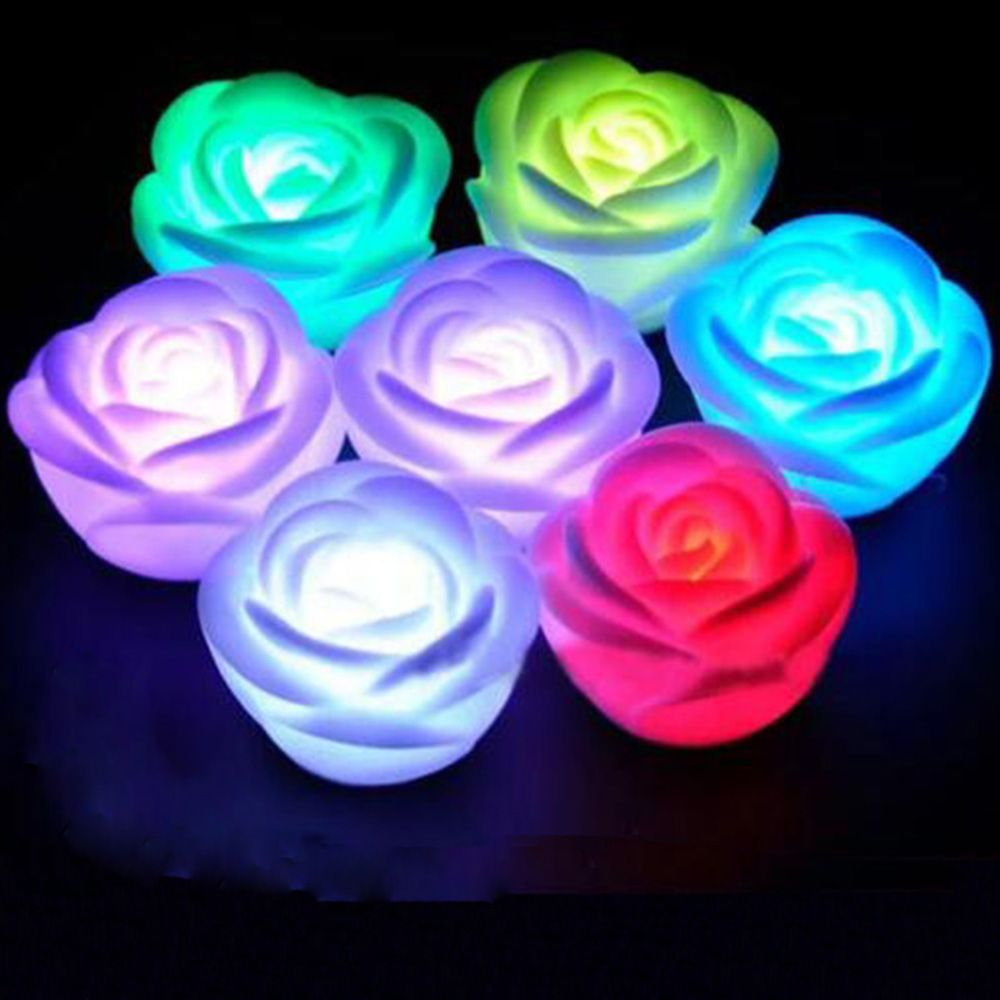 7 Colors Changing Rose Flower LED Light Night Candle Light Lamp Romantic For Children Gift