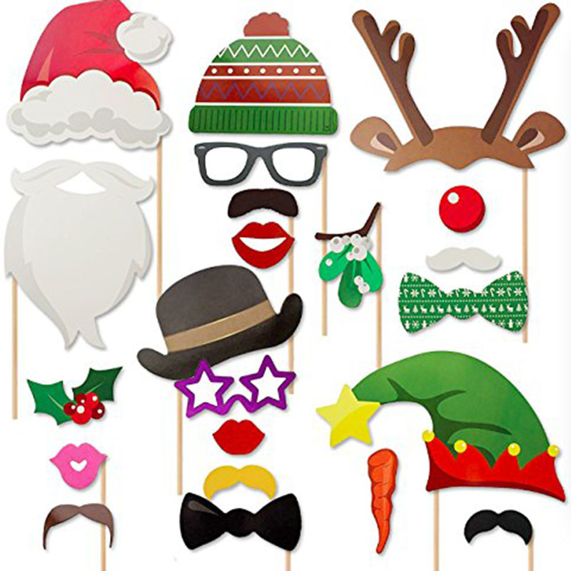 23pcs Funny Merry Christmas Photo Booth Props Christmas Holiday ...