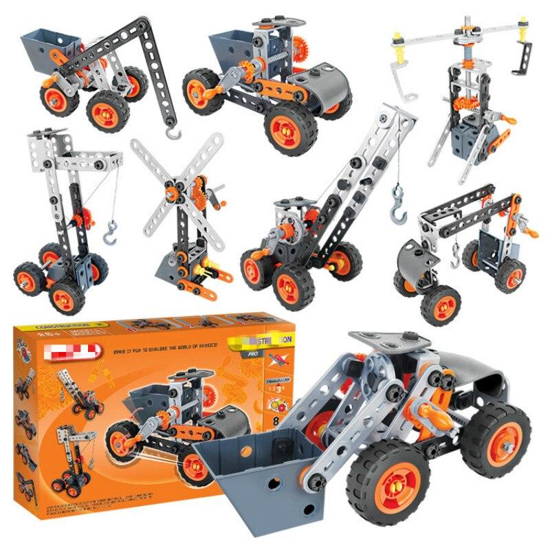 Assembler des blocs de construction, des jouets d'intelligence de vis pour enfants, des voitures de jouet en plastique, cadeau d'anniversaire