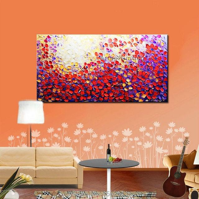 Hand Gemalte Palettenmesser Blumen Ölgemälde Wandkunst Leinwand Bild ...