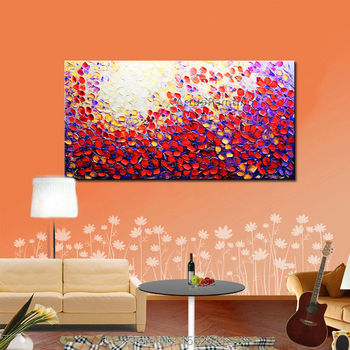 Hand Painted Palette Knife Flowers Oil Painting Wall Art Canvas Picture Modern Abstract Home Decor Living Room Purple Flowers 1