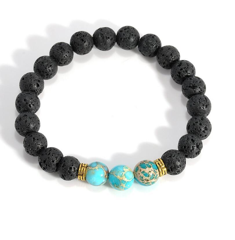 2017 Hot Lava Stone Bead Bracelets mens braclets Handmade Natural Stone Bracelets For Women Men Jewelry pulseiras