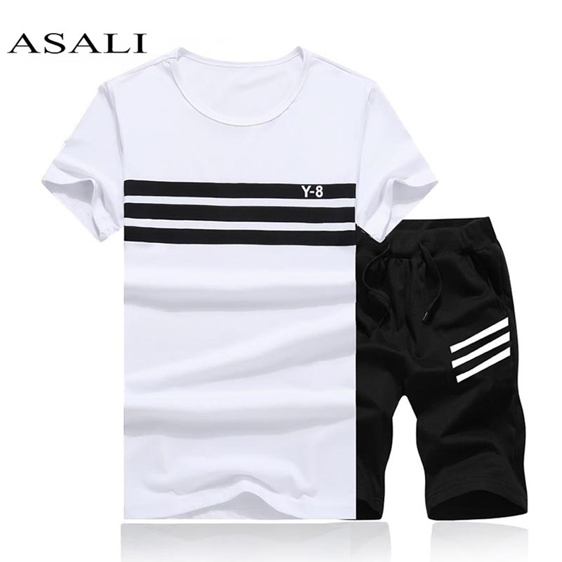 Tracksuit Men T Shirt Set Summer Hot Sale 2019 Brand Comfortable Short Sleeve Tshirt Homme Casual Set Male Cotton Solid Slim Fit