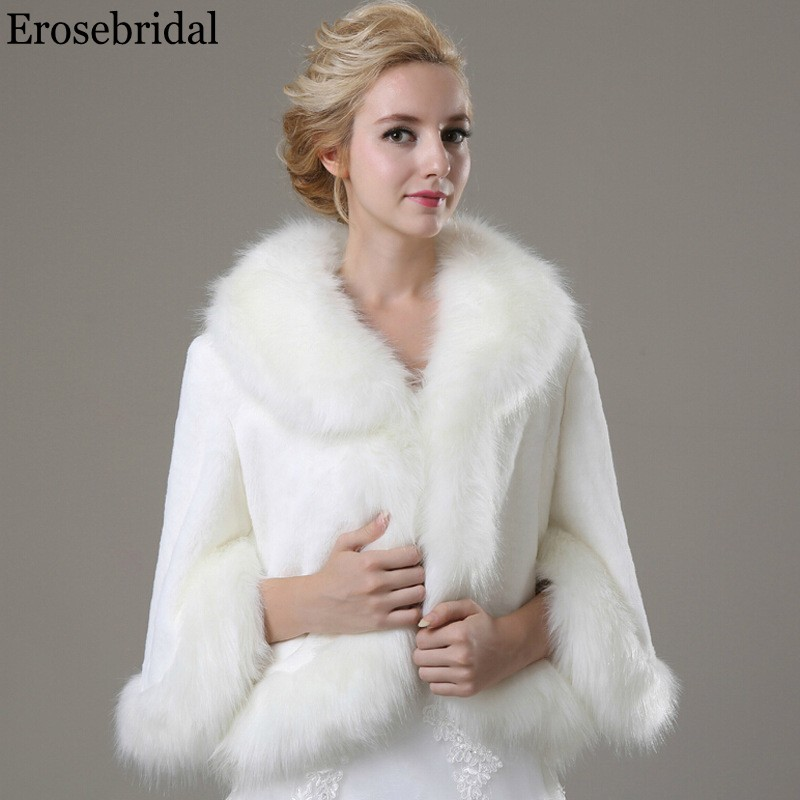 Erosebridal Long Sleeve Wedding Fur Shawl 2019 Bridal Cape Evening Bolero for Women 48 Hours Shipping In Stock Drop Shipping
