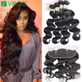 4 Bundles With Lace Frontal Weave 5Pcs Vip Beauty Hair With Frontal Malaysian Body Wave Mink Lace Frontal Closure With Bundles
